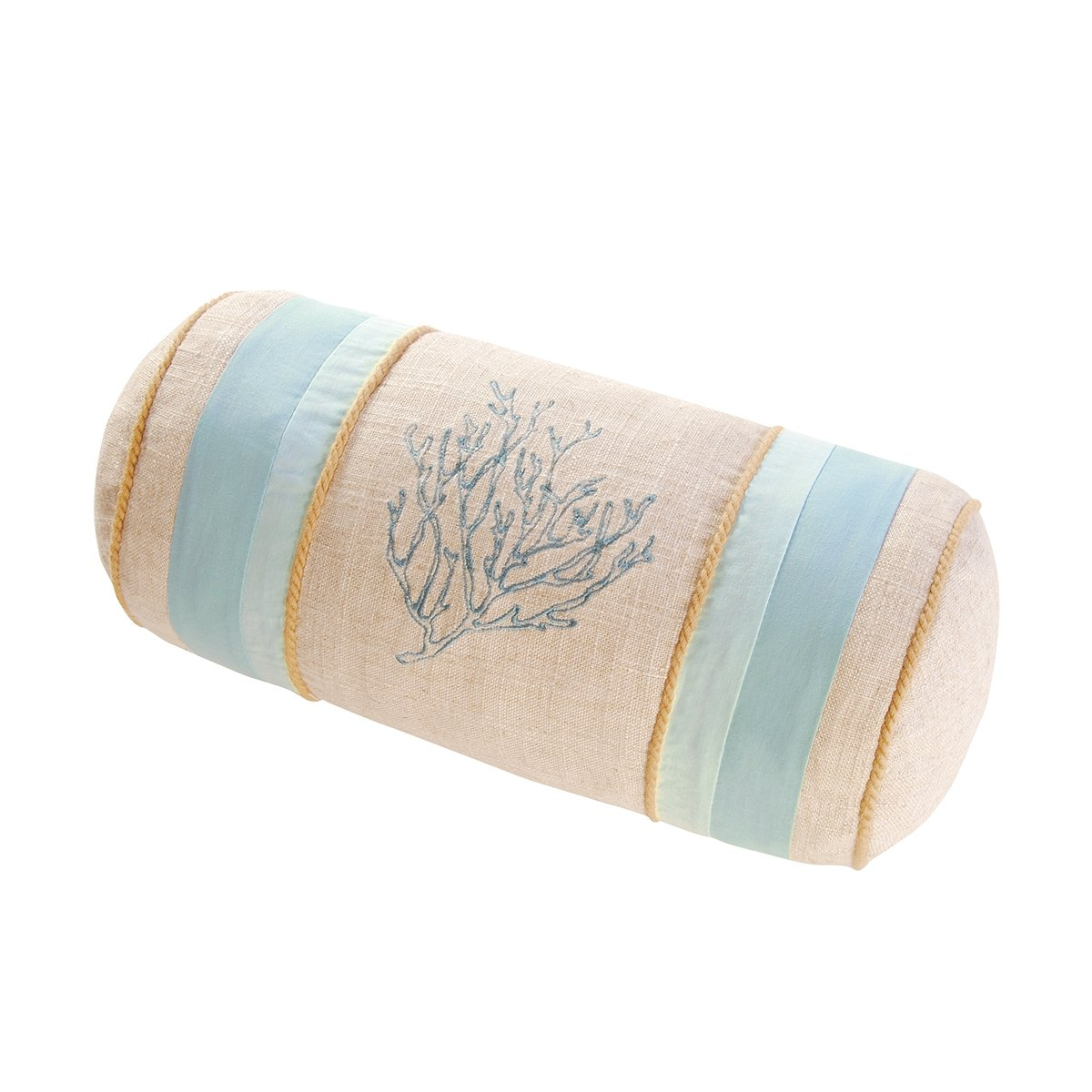 C&F Home Natural Shells 6 x 12 in. Neckroll with Coral Embroidery