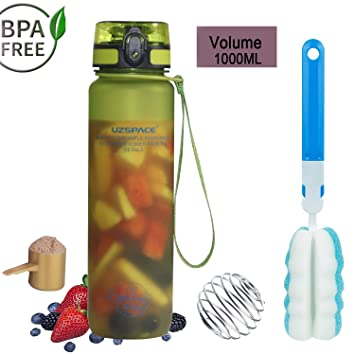 Botella de Agua Deportiva 1l sin BPA Tapa Abierta de un Clic