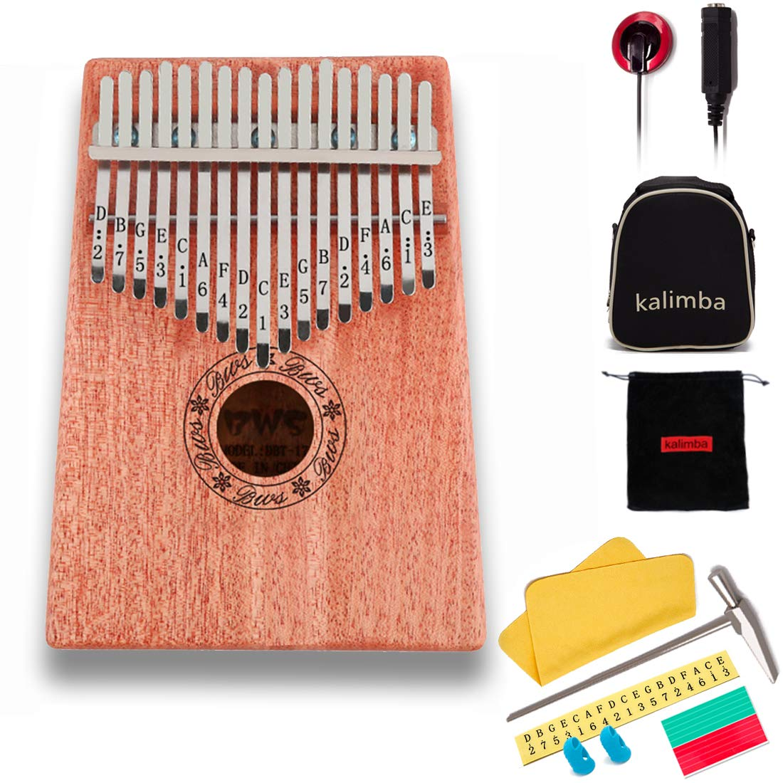 17 Keys Kalimba Thumb Piano Mbira Sanza Mahogany Body, with Multifunctional pickupsand Tune Hammer, for Beginners and Advanced Players