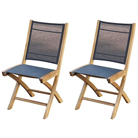 Amazon.com: Silla plegable lateral Miami de madera de teca ...
