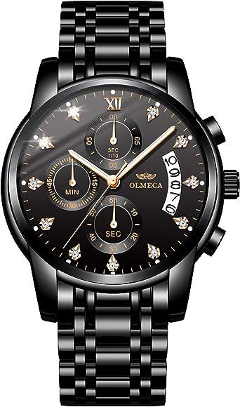 OLMECA Relojes Hombre Moda Reloj de Pulsera de Cuarzo Cronógrafo Impermeable con Cuero, Relojes de Acero Inoxidable para Hombres. 0827-QHMDgd: Amazon.es: Relojes