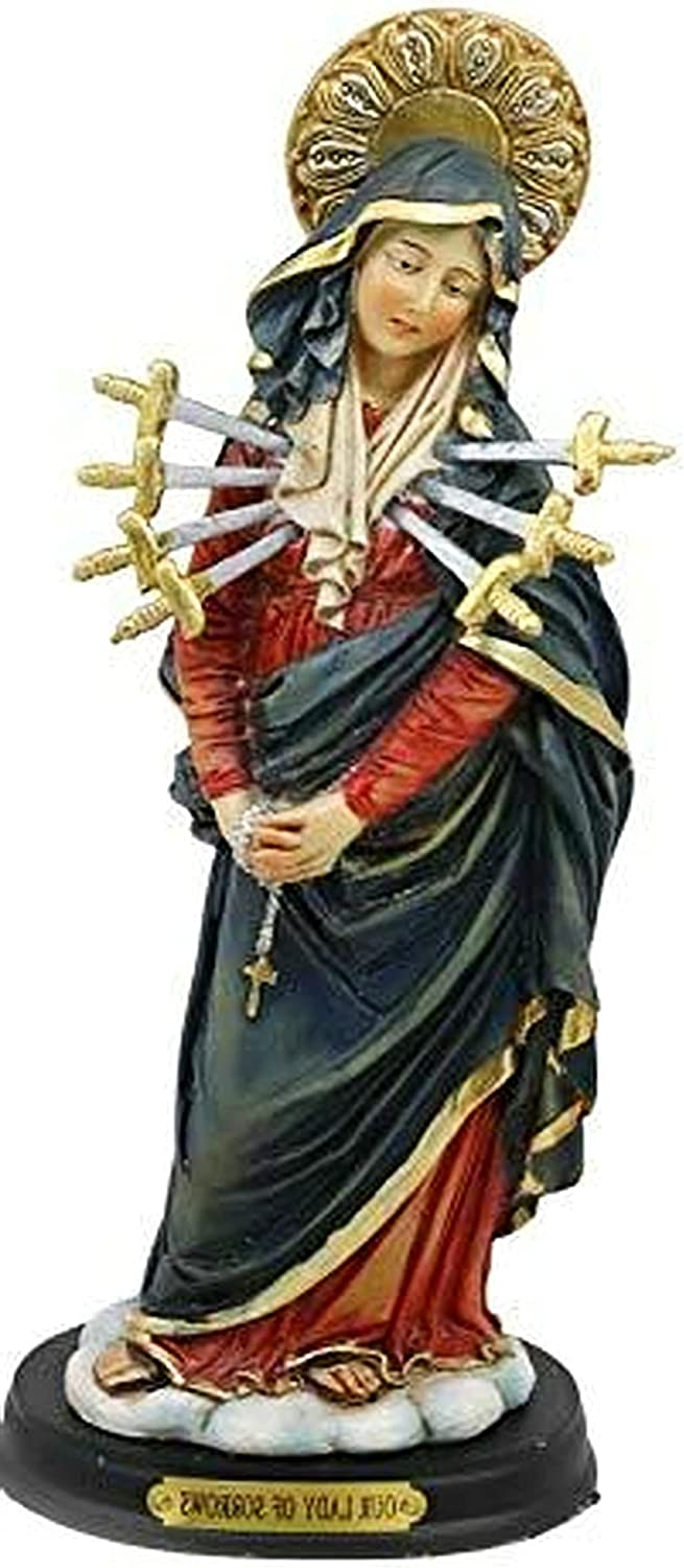 New Our Lady of Seven Sorrows Standing Blessed Virgin Mary Statue 8.5