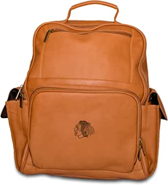NHL Tan Leather Large Computer Backpack