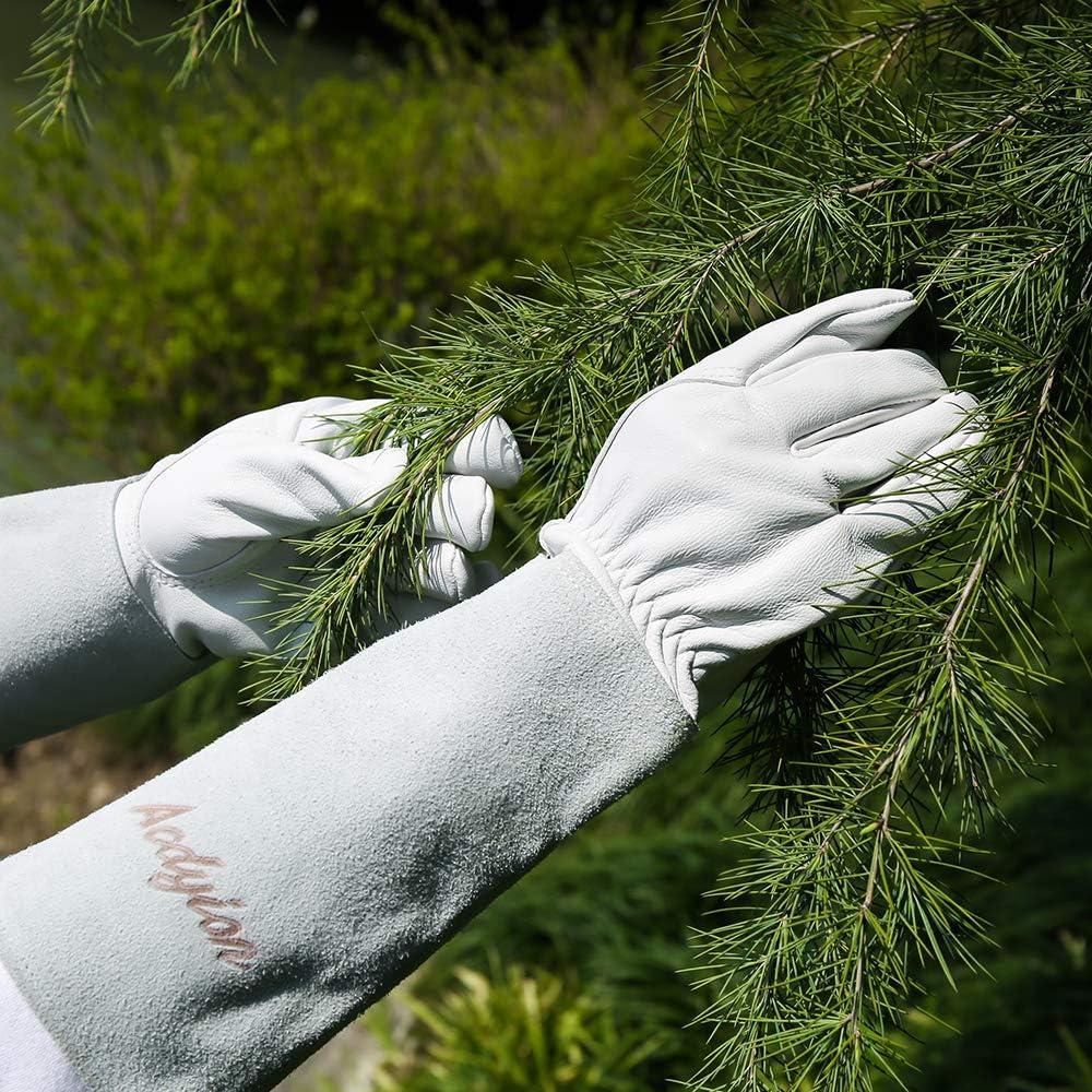 Beschneiden oder Behandeln von Dornenzweigen f/ür Kaktus Rose usw Gartenhandschuhe Damen Herren Medium, Wei/ß Acdyion Rindsleder Gartenhandschuhe mit langem Unterarmschutz