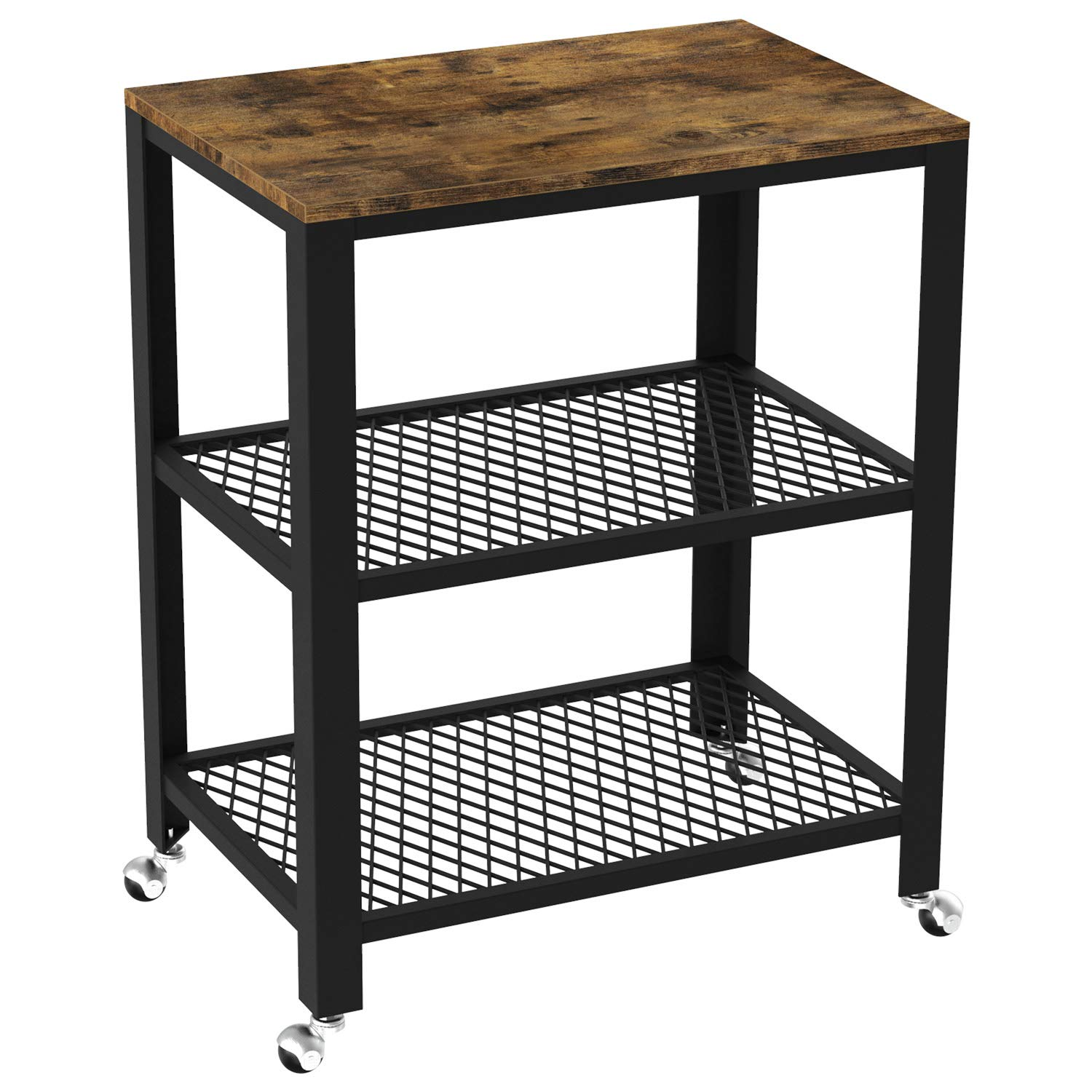 IRONCK Industrial Kitchen Cart 3-Tier, Rolling Serving Cart on Wheels with Storage, Microwave Cart for Kitchen, Wood Look Accent Furniture with Metal Frame, Vintage Brown by IRONCK