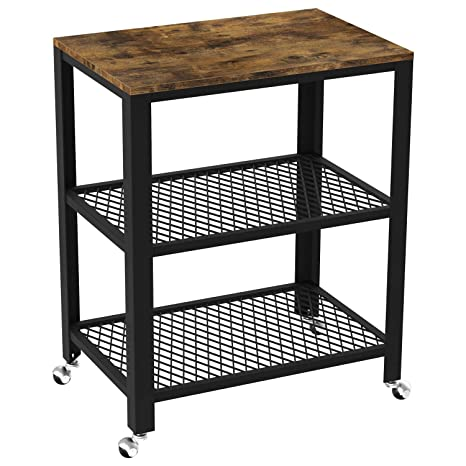 IRONCK Industrial Kitchen Cart 3-Tier, Rolling Serving Cart on Wheels with  Storage, Microwave Cart for Kitchen, Wood Look Accent Furniture with Metal  ...