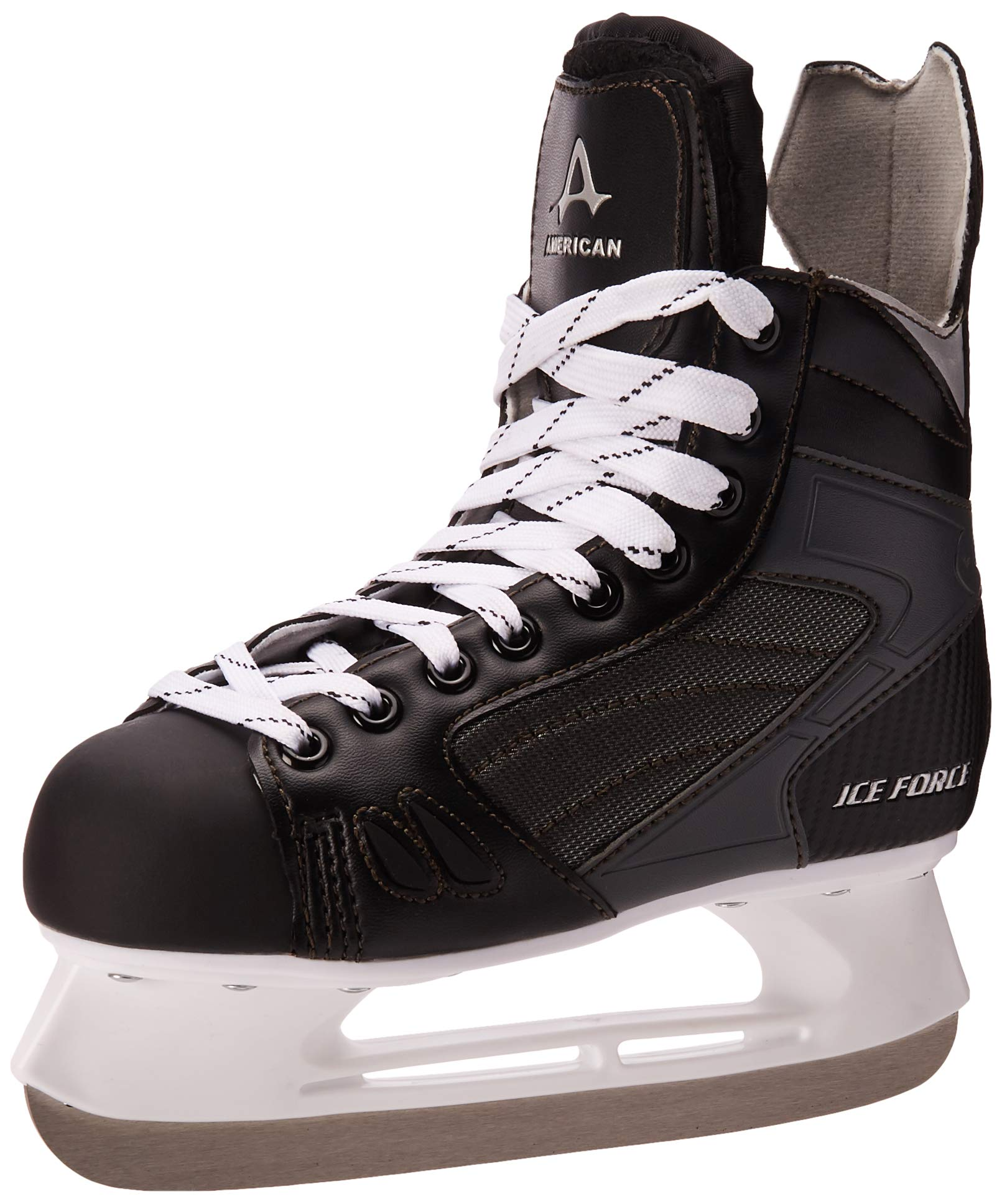 American Athletic Shoe Boy's Ice Force Hockey Skates, Black, 4 Y