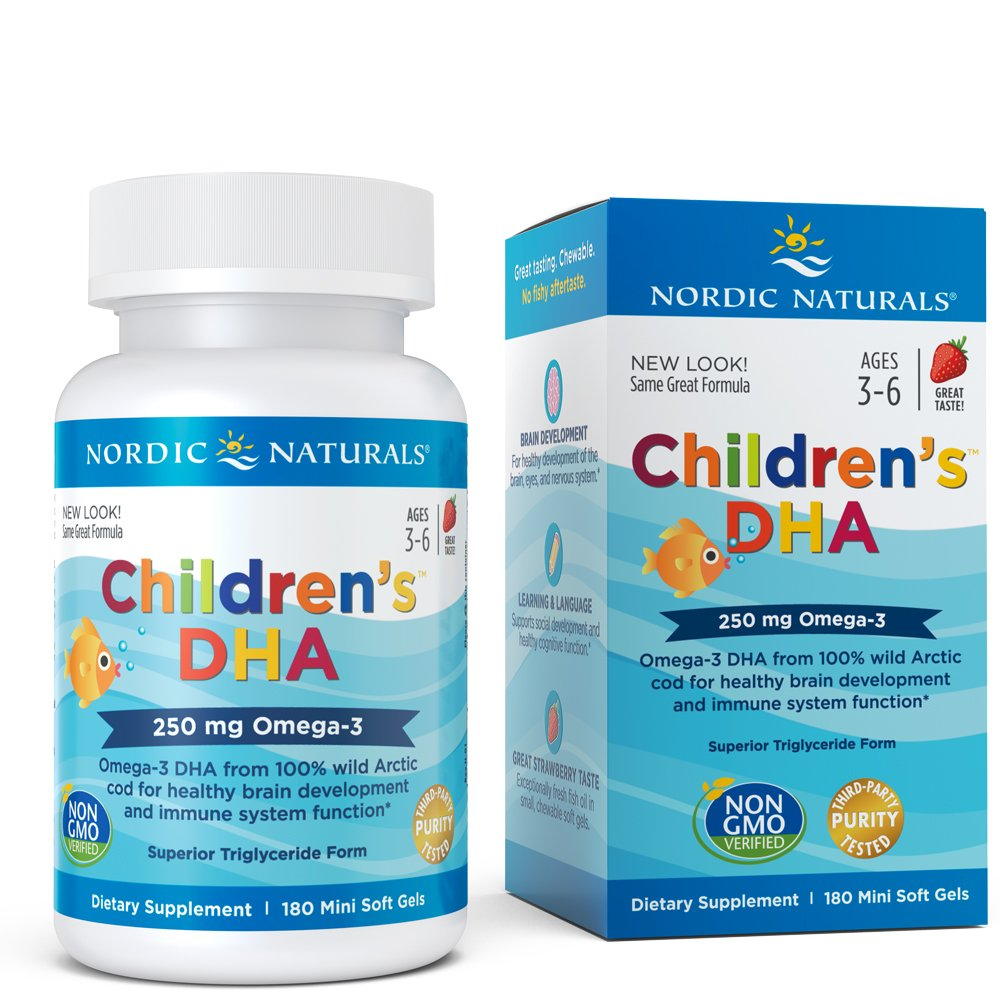 Nordic Naturals Children's DHA Strawberry - for Healthy Cognitive Development and Immune Function, 180 Soft Gels