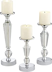 Dahlia Studios Alix Chrome and Crystal Pillar Candle Holders Set of 3