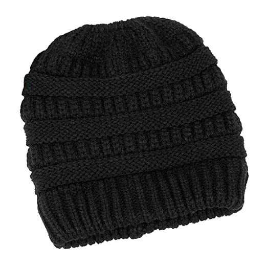 Lamdgbway Trendy Knit Hat Cable Beanie Stretch Chunky Warm Messy Ponytail  Bun Hat Black a98d7a0afad