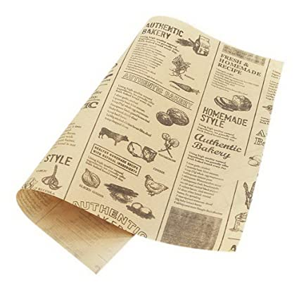 50 Sheets Yellow Newspaper Pattern Oil-proof Baking Kraft Paper Food Plate Paper  sc 1 st  Amazon.com & Amazon.com: 50 Sheets Yellow Newspaper Pattern Oil-proof Baking ...