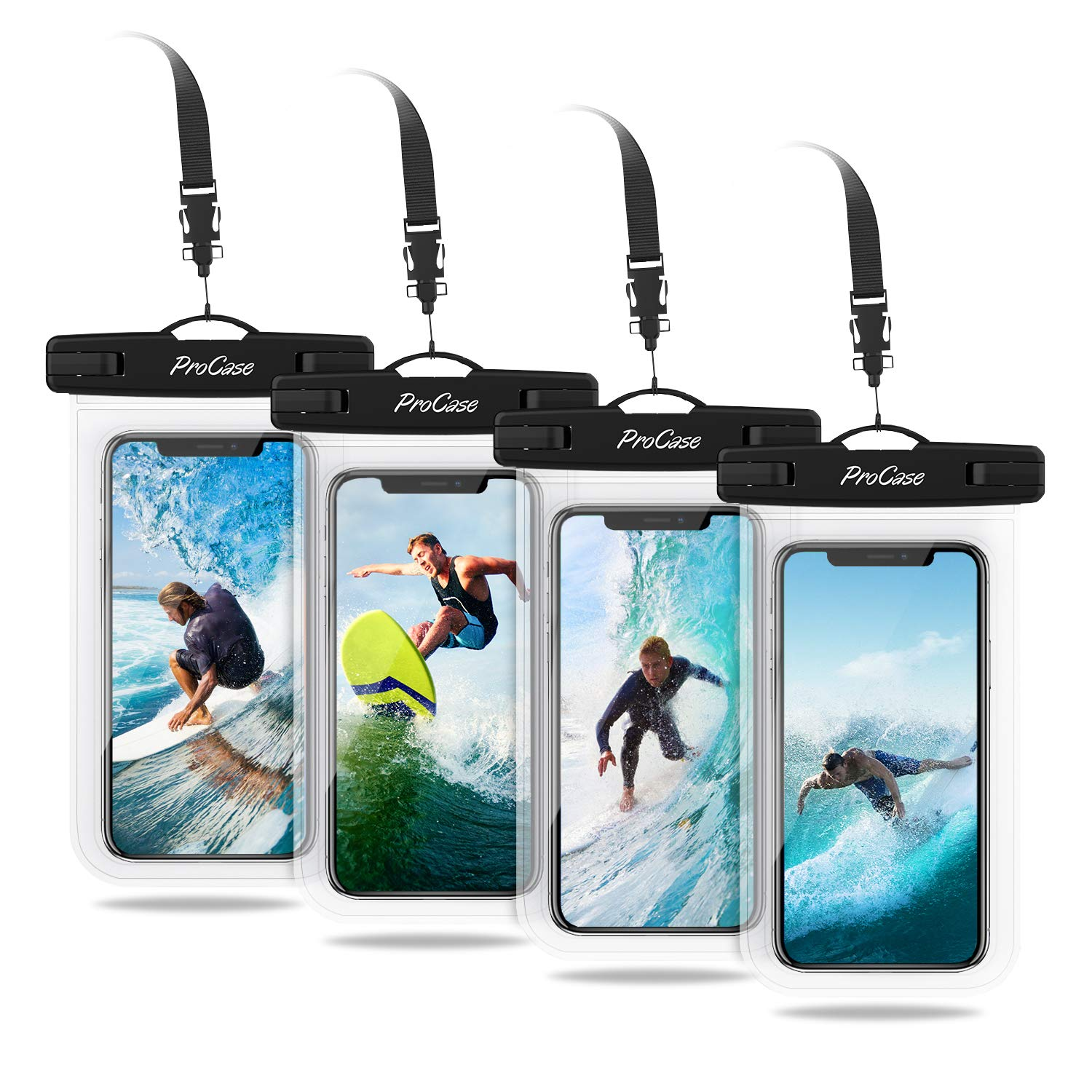 """ProCase Universal Cellphone Waterproof Pouch Dry Bag Underwater Case for iPhone 11 Pro Max Xs Max XR X 8 7Plus, Galaxy S10+ S9 S8+/ Note 10+ 9 8, Pixel 4XL up to 6.8"""" - 4 Pack, Clear"""