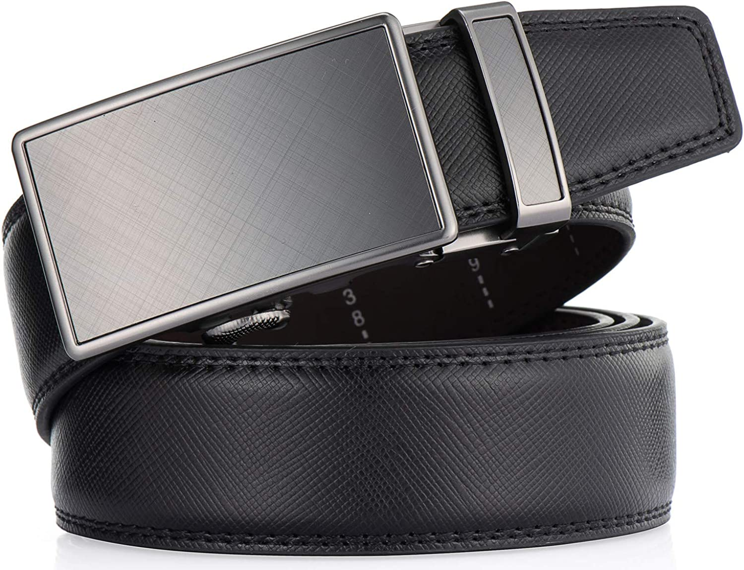 Enclosed in an Elegant Gift Box Mens Belt Autolock Leather Ratchet Dress Belt for Men With Automatic Buckle