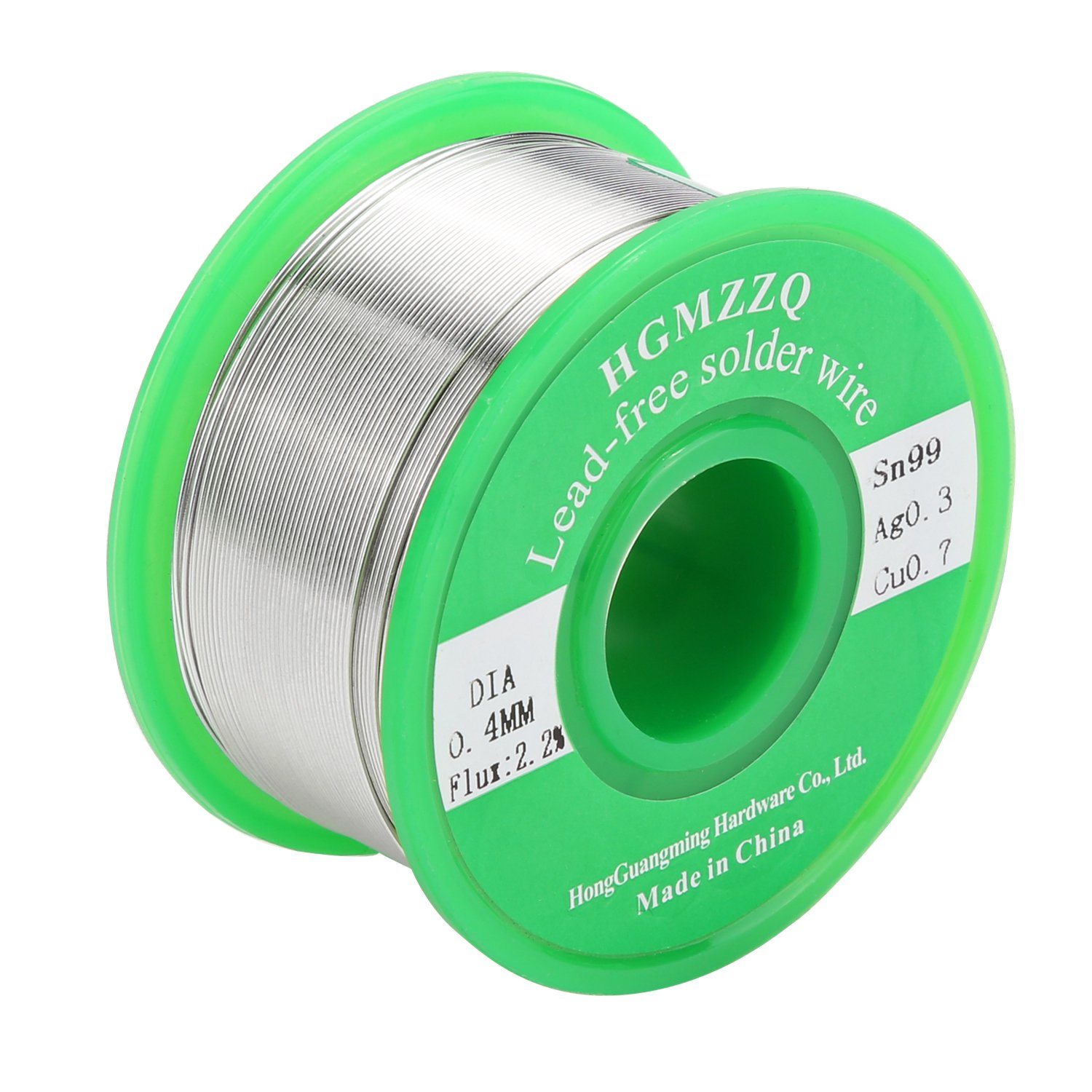 HGMZZQ Lead Free Solder Wire with Rosin Core for Electrical Soldering Sn99 Ag0.3 Cu0.7 100g 0.015 inch(0.4mm-0.22lbs)