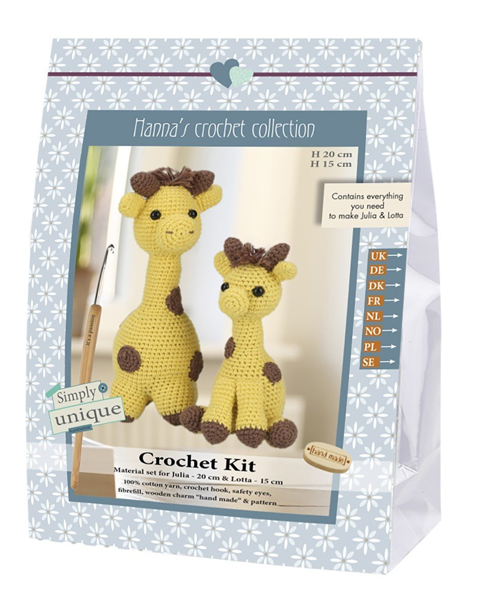Go Handmade Julia 20cm & Lotto 15cm The Giraffes Crochet Needlework Kit, All Parts & Materials Included! 80071