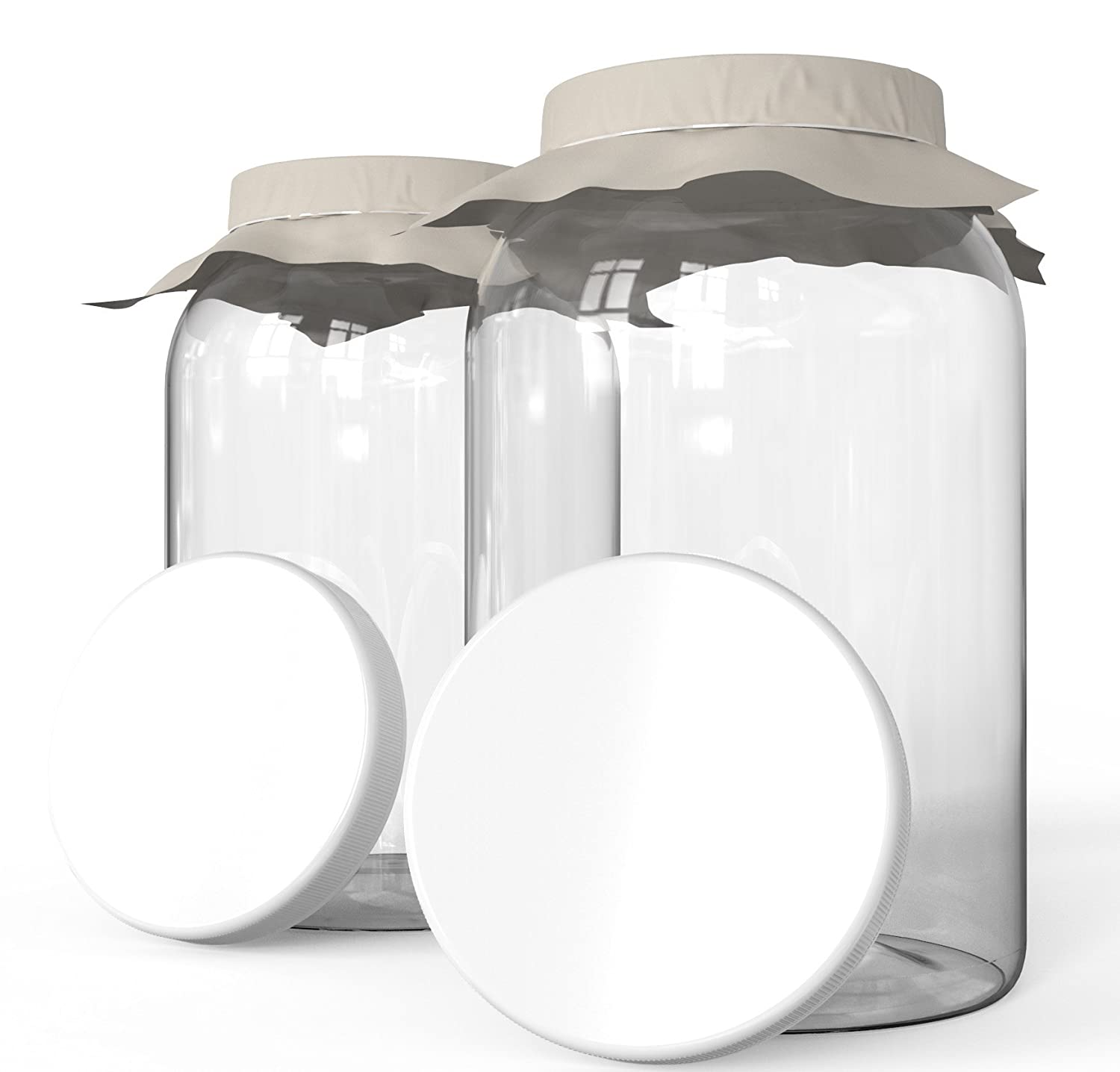 KombuJars Kombucha Jars 1 Gallon Glass (2 pack) Brewing Fermenting Storage Bottles, With Plastic Lids, Cloth Cover, and Bands (2)