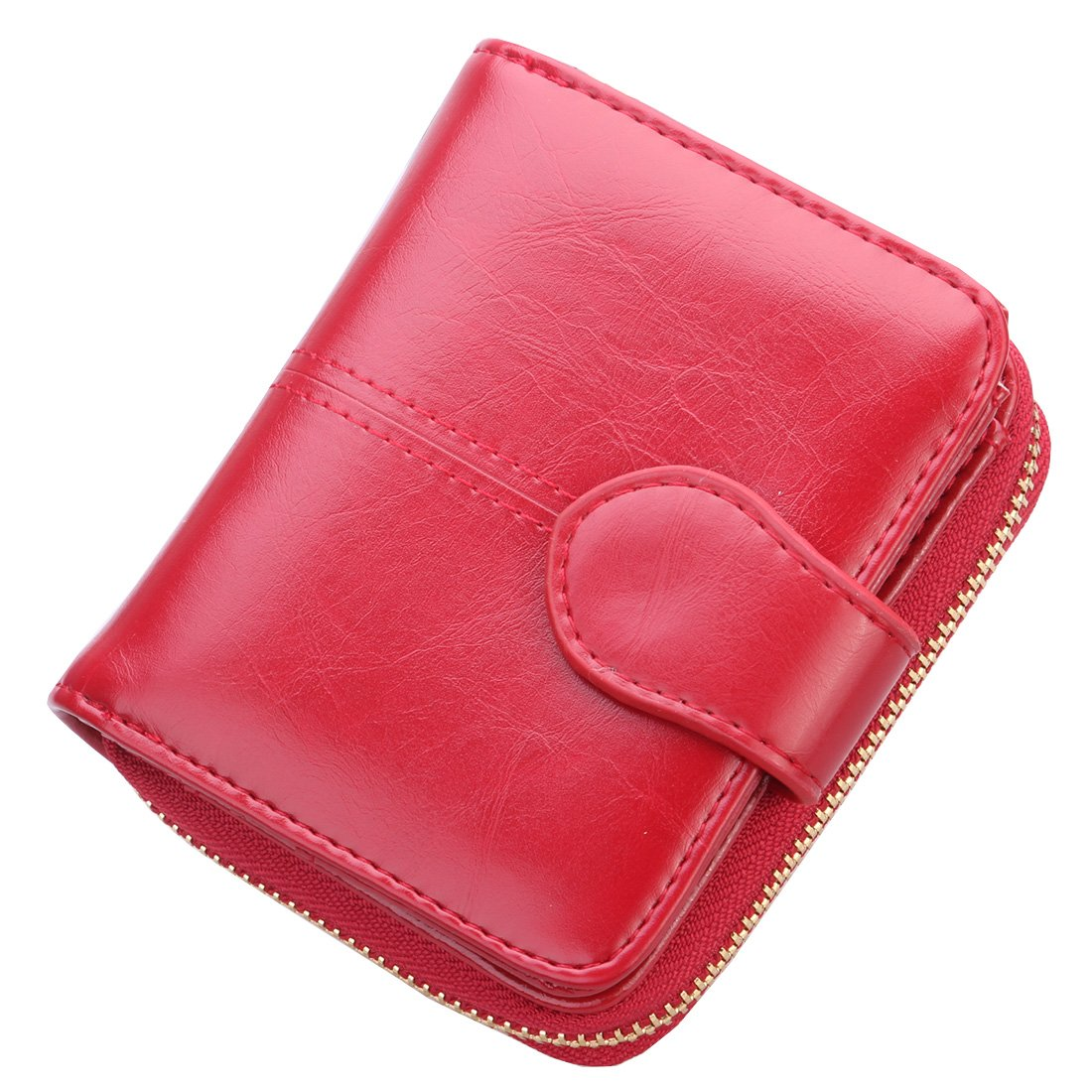 UPinYi Leather Wallet for Women Short Clutch Purse Bifold Ladies Multi Card Holder Coin Zippered Organizer (Wine Red)