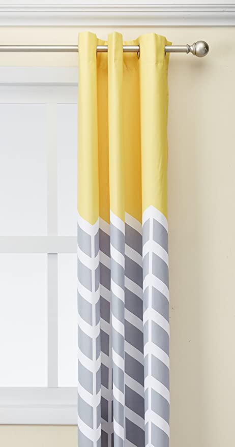 Intelligent Design Yellow In Grey Chevron Printed Curtains For Living Room  Or Bedroom, Modern Contemporary