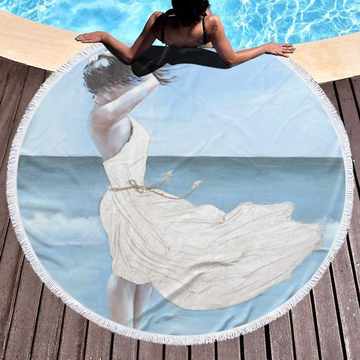 chenguang4422 Girl On A Windy Beach Printed Round Beach Towel Yoga Picnic Mat Round Tablecloth Ultra Soft Super Water Absorbent Terry Towel with Tassels