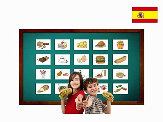 Amazon.com: Tarjetas de vocabulario - Food and Drinks Flashcards in Spanish - Vocabulary Picture Cards for Language Learning: Toys & Games