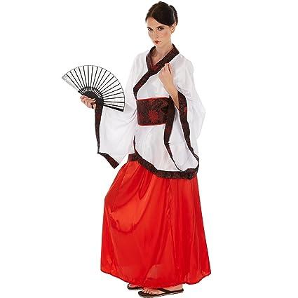 TecTake dressforfun Disfraz de Asiática Chino para Mujer | Kimono de Satén Brillante | Incl. Faja Muy práctica (XXL | No. 301024)