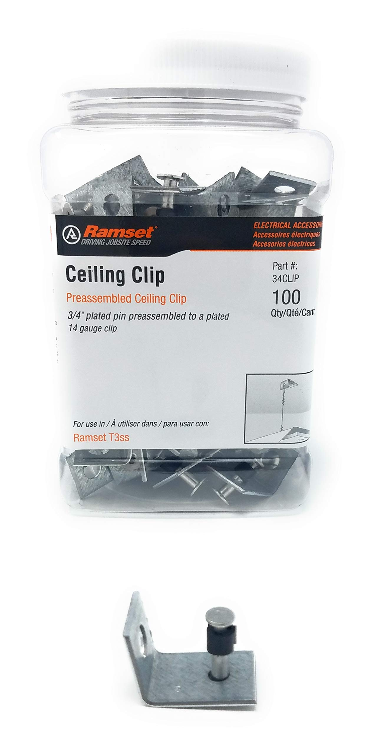 3/4'' Ceiling angle Clip w/ 3/4'' Pin For Gas Single Shot Tools