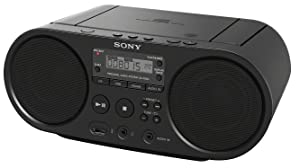 Sony Zs-PS50 Black Portable Cd Boombox Player Digital Tuner Am/FM Radio USB Playback and Audio Input Mega Bass Reflex Stereo Sound System