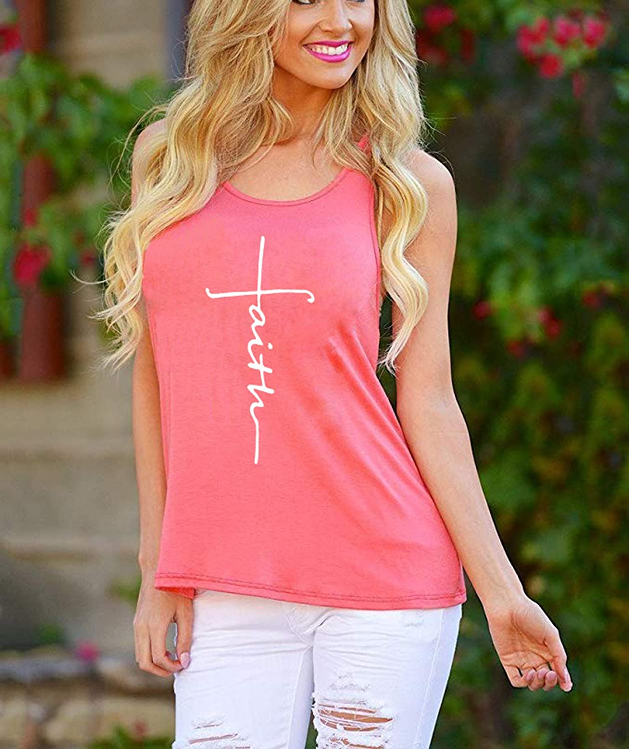 Mansy Womens Casual Faith Letter Printed Graphic Tank Tops Summer Sleeveless Shirts Blouses