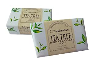 Touch Nature Tea Tree Handmade Soap with Henna Added. All Natural. Moisturizing. No SLS and Parabens. (2pc 100gm)
