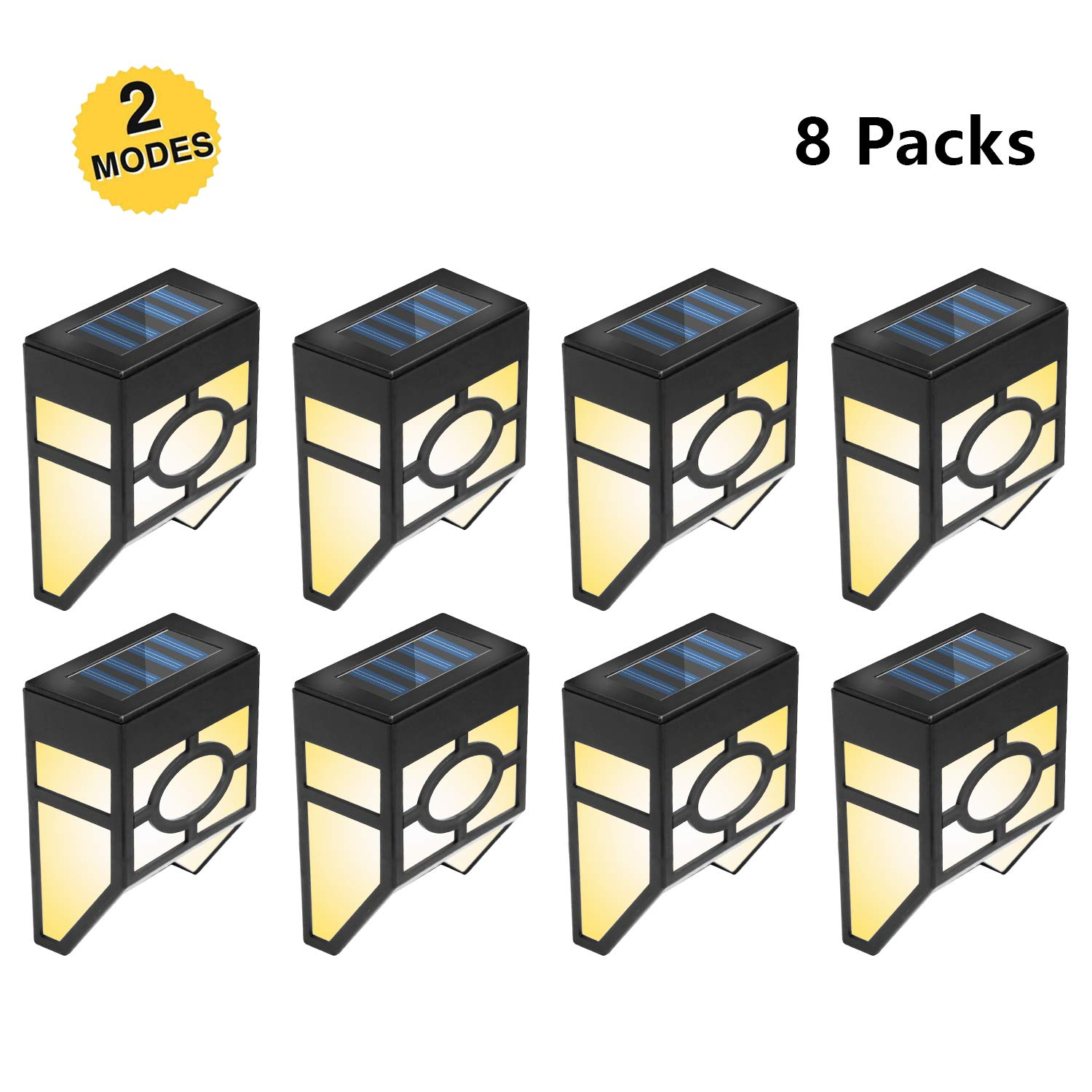 INCX 8pcs Solar Fence Lights-Solar Deck Lights-2 Models Waterproof LED Outdoor Lighting for Gardon Yard Landscape Patio Decoration by INCX