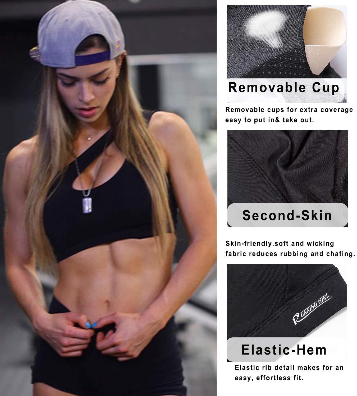 9e17834ba7342 RUNNING GIRL One Shoulder Sports Bra Workout Yoga Bra Sexy Cute Medium  Support(2030 Black
