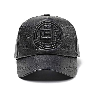 1c8c598afba922 Mens Baseball Cap PU Leather Hat Hip-Hop Cap Adjustable Snapback Outdoor Cap  (Black): Amazon.co.uk: Clothing