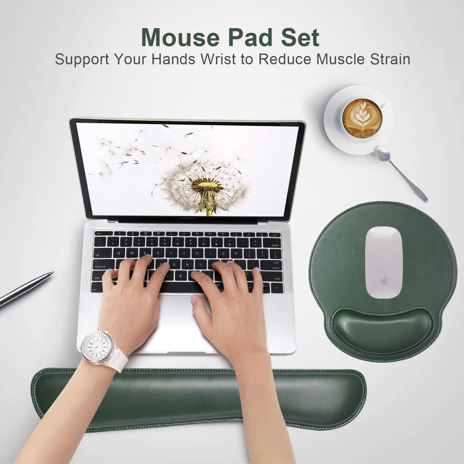 Ergonomic Mouse Pad Set Keyboard Wrist Rest Pad and Mousepads with Wrist Support,iVeze Pu Leather Memory Foam Lightweight Comfortable Mouse Pads for Home Office Efficient Working Pink