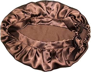 Dolity 100% Silk Night Sleeping Cap Bow Bonnet Hat Womens Hairstyle Care Hats - Coffee, as described