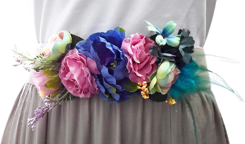 BRANDELIA Cinturones de Flores para Vestidos de Fiesta Mujer Cinturones Elásticos Mujer con Flores Artificiales, Varios Modelos