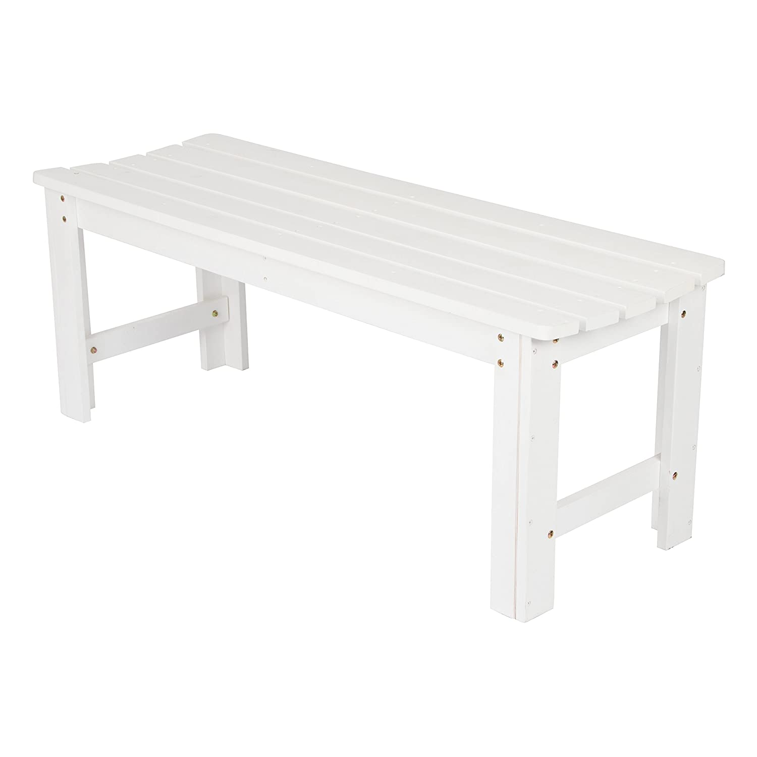 Shine Company Backless Garden Bench, 4-Feet, White 4204WT