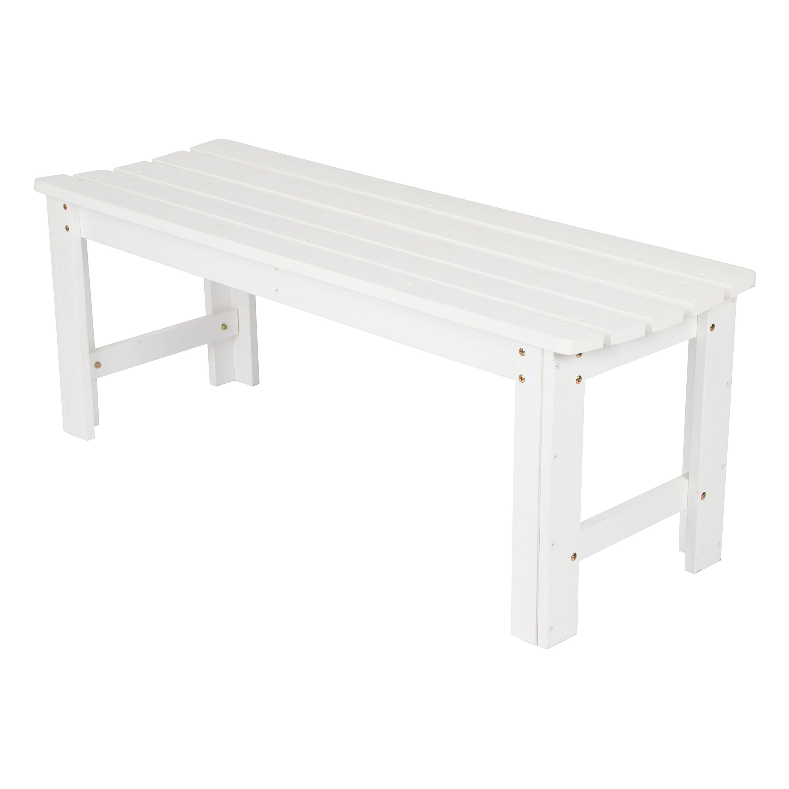 Shine Company Inc. 4204WT Backless Garden Bench, 4 Ft, White by Shine Company