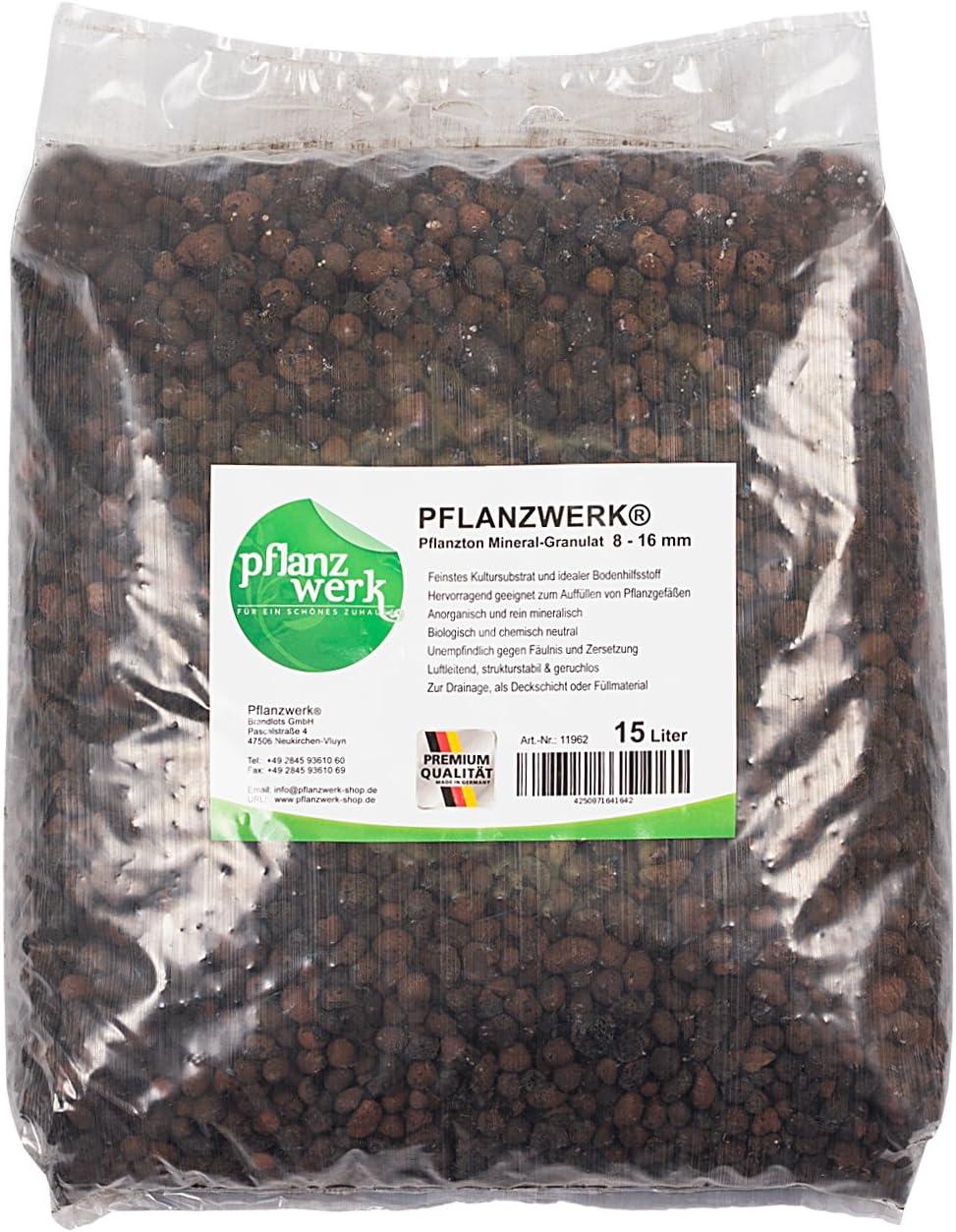 Pflanzwerk® Macetero Arcilla Gránulos Minerales 15l *Resistente A Las HELADAS* *Mineral* *Producto DE Calidad*