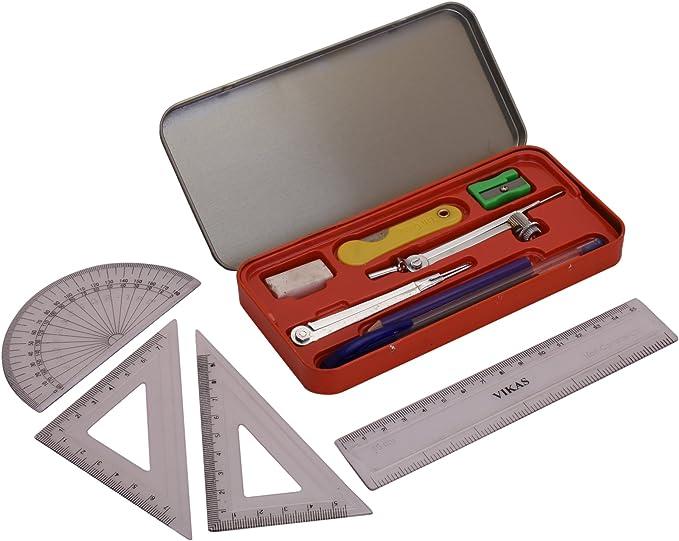 G-Compass Figo Geometry Box Red Plastic Organizer Box Mathematics Drawing Instrument Storage Set