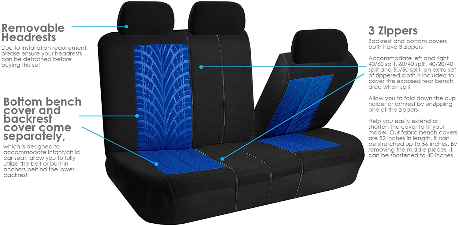 FH Group FB071BLUE115 Car Seat Cover Travel Master Airbag and Split Bench Compatible Blue