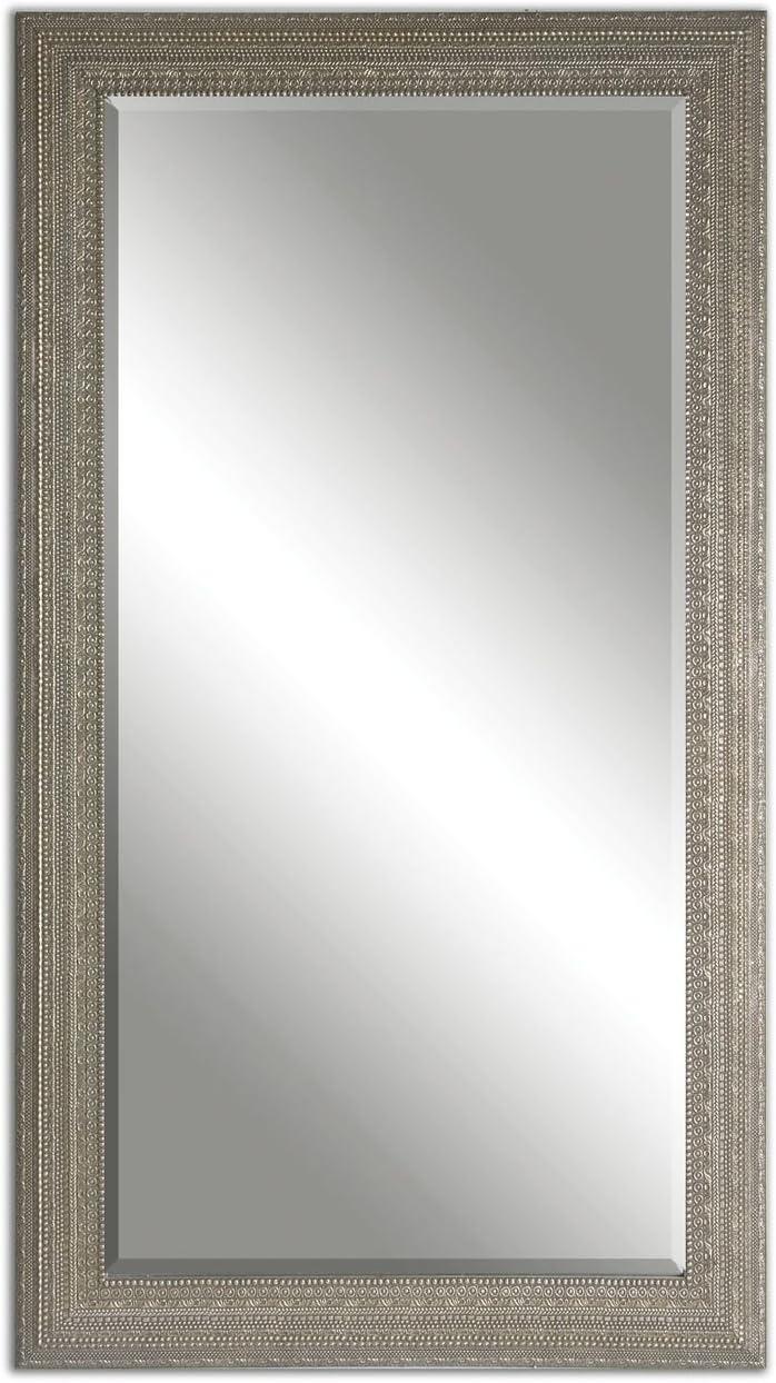 Intelligent Design Full Length Silver Beaded Frame Mirror Wall Floor Leaner