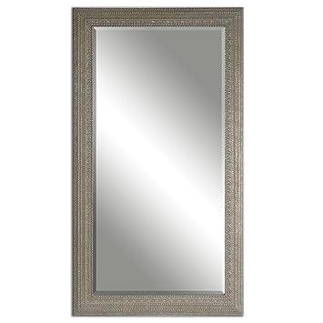 Amazon.com: Full Length Silver Beaded Frame Mirror | Wall Floor ...