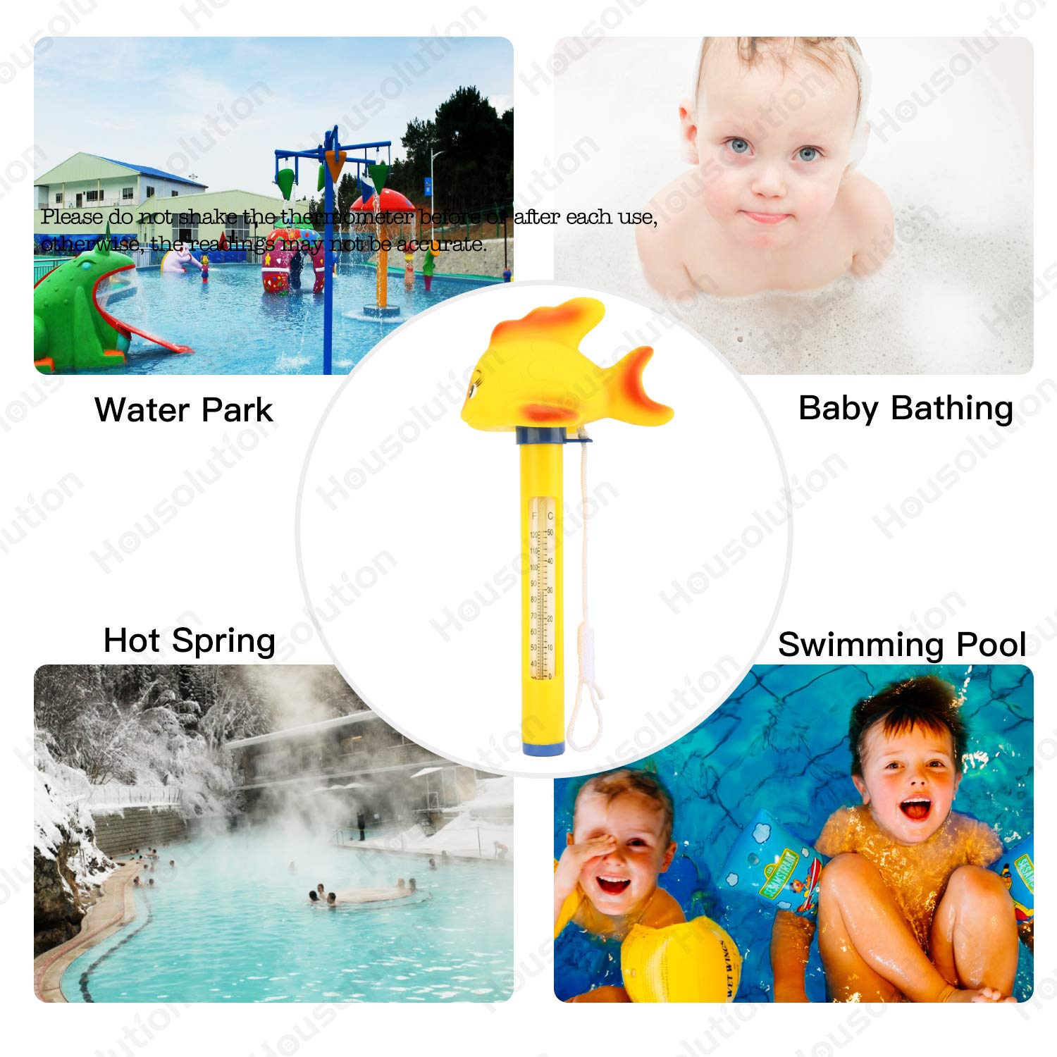 Baby Pool Cartoon Water Thermometer SPA Swimming Pool Thermometer Yellow Duck Housolution Floating Pool Thermometer