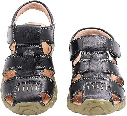 b2ed07f6f9cb5 Gaatpot Boy s Girl s Closed Toe Sandals Kids Outdoor Leather Fisherman  Sandals Summer Casual Flat Beach Walking