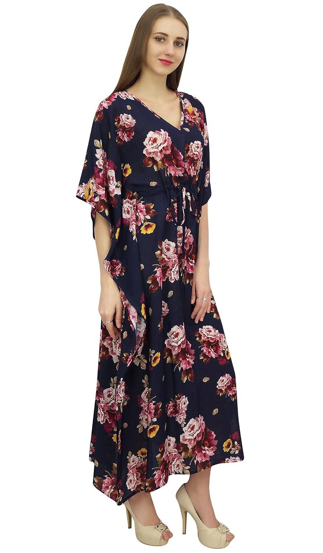 Bimba Frauen Blau Kaftan Floral bedruckt Kaftan Kimono Sommer Maxikleid