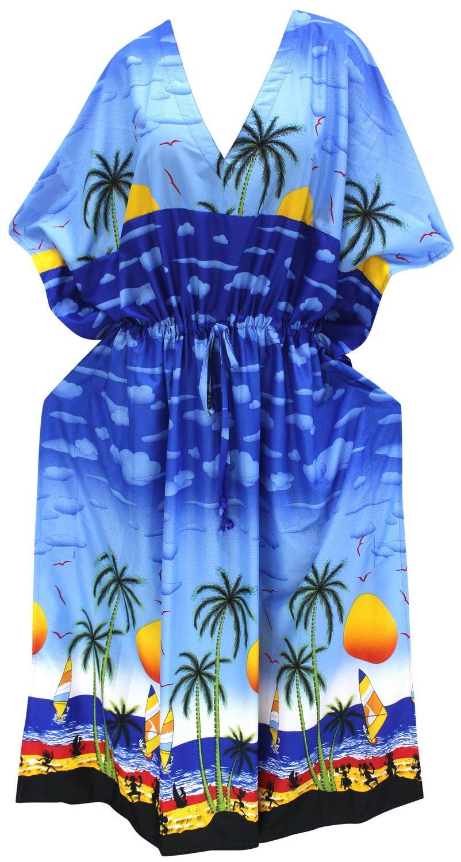 LA LEELA Likre Printed Long Caftan Top Girl Royal Blue_810 OSFM 14-22W [L-3X]