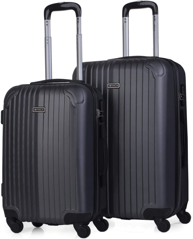 ITACA - Juego Maletas de Viaje 4 Ruedas Trolley. ABS. Duras Rígidas Resistentes y Ligeras Diseño. 2 Tamaños: Pequeña Cabina y Mediana Extensible. T71515, Color Antracita