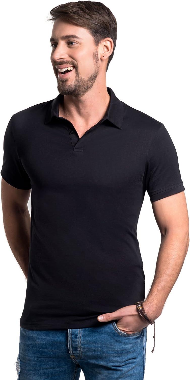 TRUTH ALONE Men's Slim Fit Polo, 100% Organic Peruvian Pima Cotton Jersey