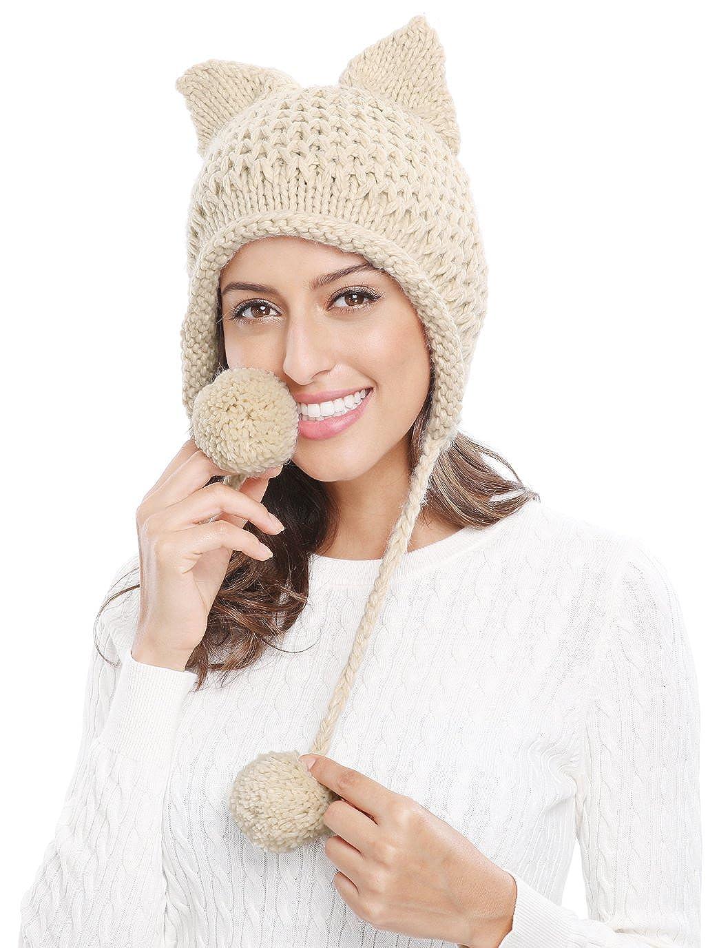 ca18ae11658 Bellady Winter Cute Cat Ears Knit Hat Ear Flap Crochet Beanie Hat ...