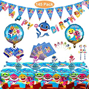 Baby Shark Party Supplies, 145 Pcs Shark Baby Birthday Decoration, Baby Shark Decoration Supplies for Children Carnival